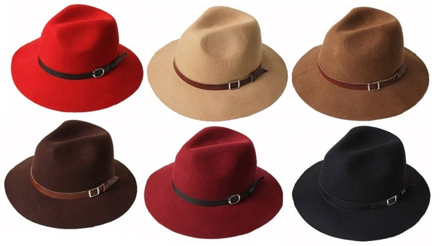 Wholesale 6pcs/Lot Women Floppy Wool Fedora Hat Ladies Winter Felt Hats Fashion Mens Autumn Trilby Cap Men Spring Fedoras Caps