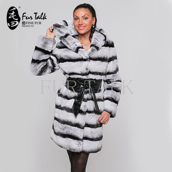 Russian rex rabbit long fur coats with hood chinchillas coat(China (Mainland))