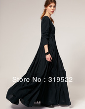 Fashion royal  exaggerated plus size  S-XXXL  vintage gothic o-neck ankle-length A-line black super long dress(China (Mainland))
