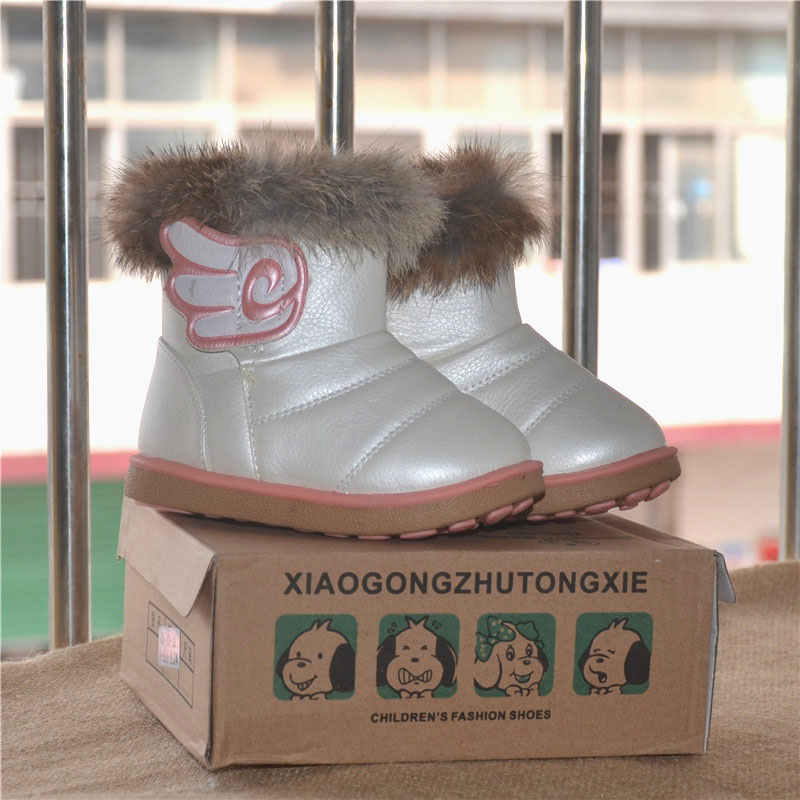 2015 Kids winter Rabbit Fur Snow Boots Children Warm shoes baby PU leather snow boots Children's sport sneakers boots size 21-30(China (Mainland))