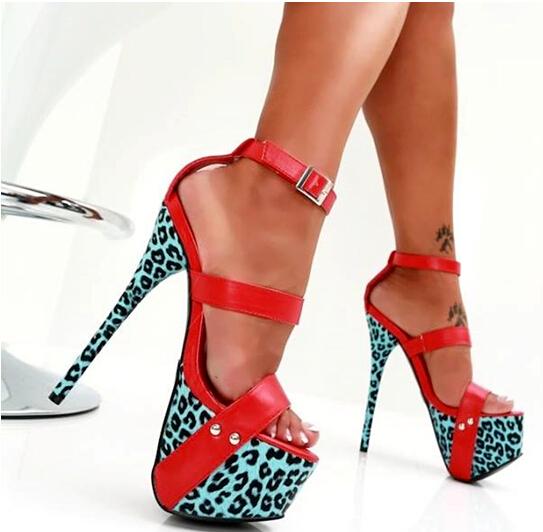 Фотография 2016 summer hot selling sexy red/leopard patchwork high heel sandals stiletto heel platform buckle strap dress shose dropship