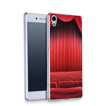 Theatre Seats Red Curtain HD Wallpaper Plastic Protective Shell Skin Bag Case for Sony Z5c z5 z2 z3 z4 Cases Hard Back Cover(China (Mainland))