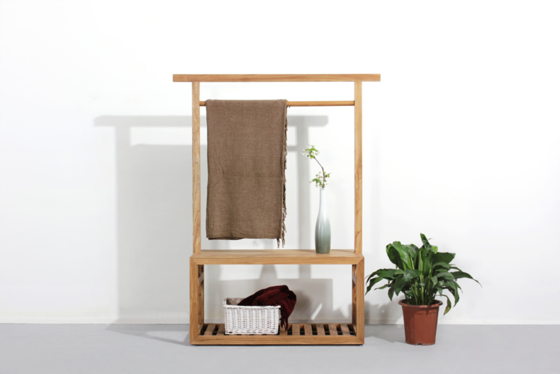 chen iron wood furniture simple and modern pine wood floor hallway