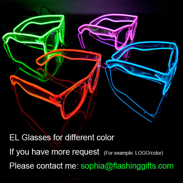 Free shipping small battery box including 2pcs 2032 batteries Light Up EL Wire Glow Shades Rave Party ar Eyeswear Sunglasses(China (Mainland))