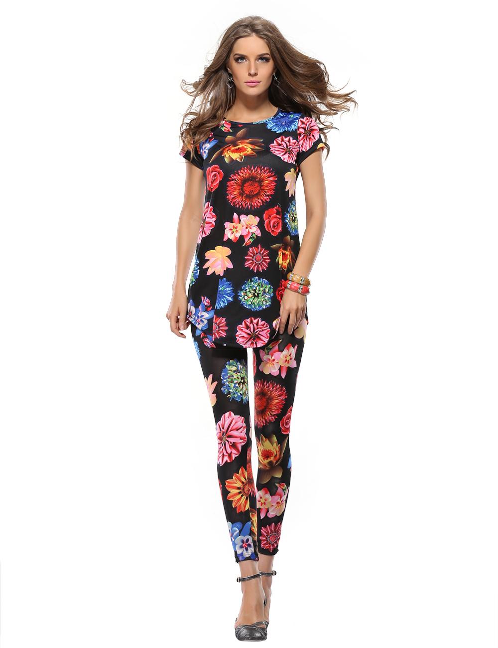 Top short sleeve flower print dress and women flower print leggings