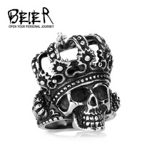 New vintage punk crown steel color Skull Ring with Stone For Man fashion jewelry  BR8397(China (Mainland))