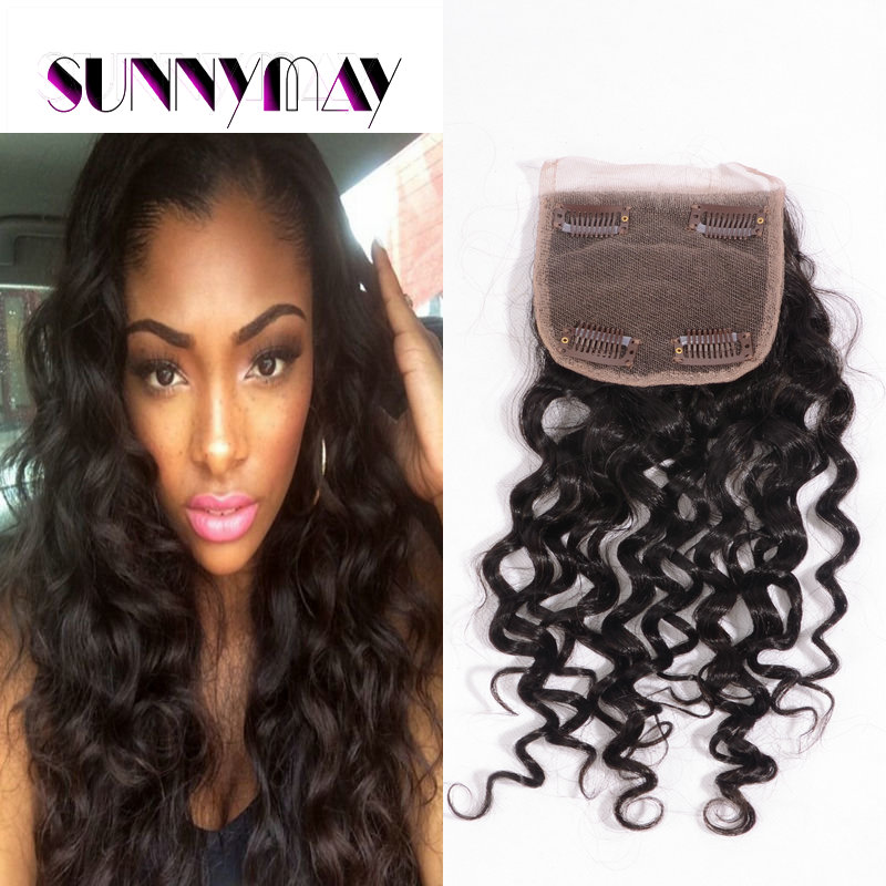 Newest sunnymay natural color loose curly virgin Peruvian hair lace closure ( 4*4)stock(WJJ-191255)<br><br>Aliexpress