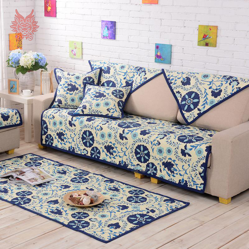 American pastoral style blue floral print Sofa cover 100%cotton quilting slipcovers quilted canape for sofa SP2768 FREE SHIPPING