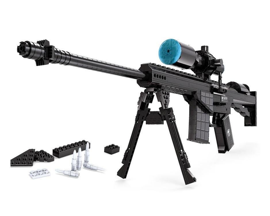 M107 Sniper Assault Rifle GUN Weapon Arms Model 3D 52Model Brick Gun Building Block Set Toy Gift Children - Minecraft store