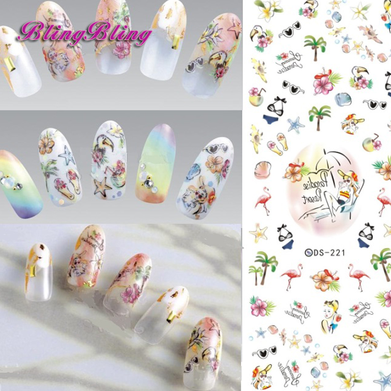 2016 Cartoon Design Nail Art Manicure Tips Water Transfer Nail Stickers Paradise Vacation Desgins Nails Wraps Collections Decor(China (Mainland))