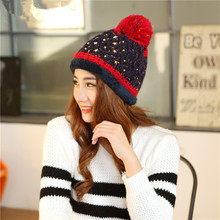 Korean Women Warm Hats Beanie Hat New Winter Knitting Wool Hat for Women Caps Lady Beanie Knitted Caps Outdoor Sport Warm(China (Mainland))