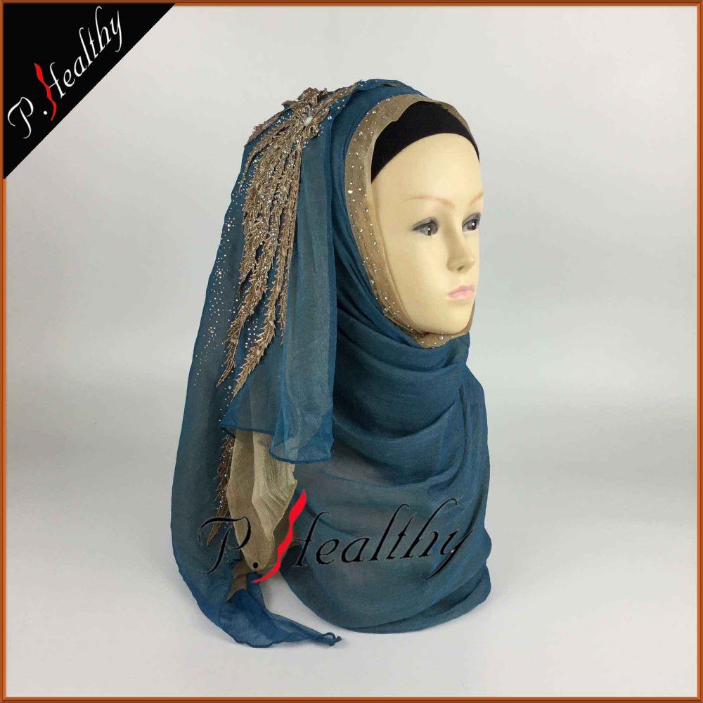 WEDDING HIJAB HEADSCARF HEAD PIECE CLOTHING FASHION BRIDAL SHAWL SCARVES MOUSSELINE, Can Choose Colors,Free Shipping PHW001(China (Mainland))