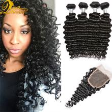 Unice Hair Virgin Brazilian Deep Curly Hair With Closure Grade 7a Brazilian Virgin Hair With Closure 3 Bundles And Closure Nice