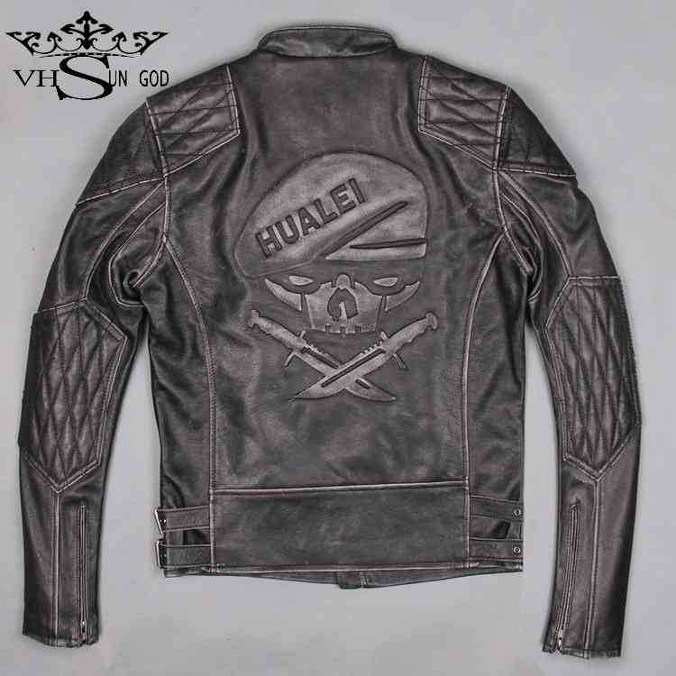 Free shipping new Hot Sale Retro do the old Skulls Steampunk motorcycle biker leather jacket men Cowhide Slim jackets and coats(China (Mainland))