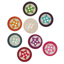 """Buy DoreenBeads Wood Sewing Button Scrapbooking Round Random Four Holes Five-point Stars Pattern 20mm (6/8"""")Dia,100 PCs 2016 new for $4.06 in AliExpress store"""