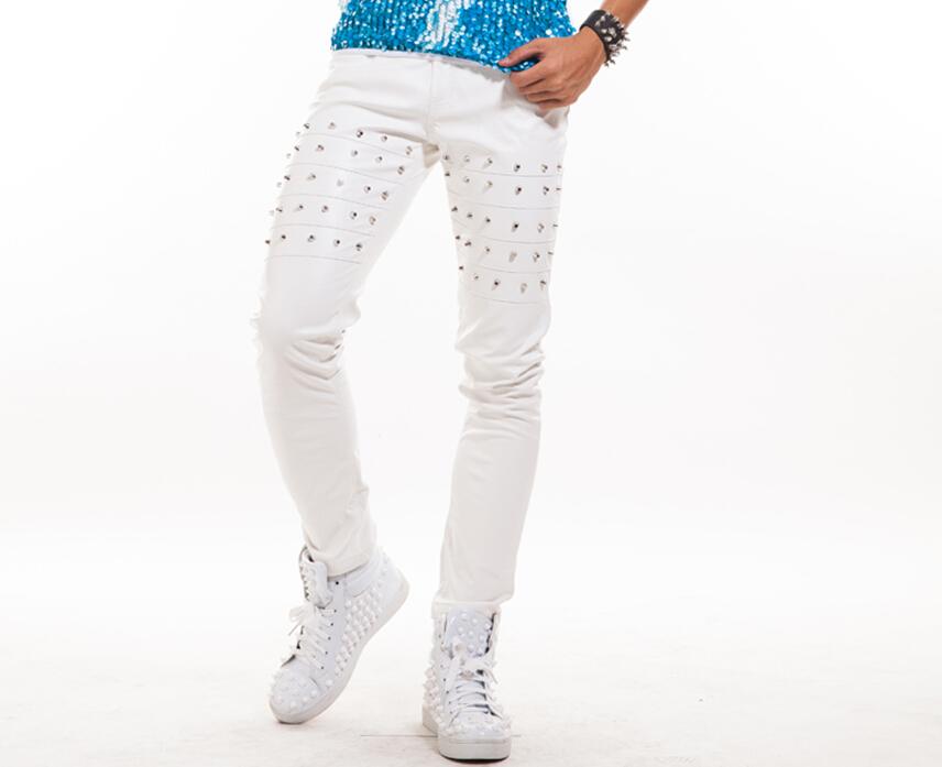 New Male Casual PU Leather Rivets Pants Slim Men White Punk Novel Gentleman Trousers Nightclub Bar Dj Singer Costumes Stage Show(China (Mainland))