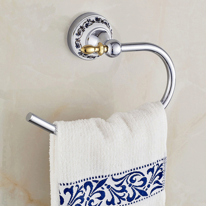 Blue white porcelain towel ring towel holder ceramic for Blue white bathroom accessories