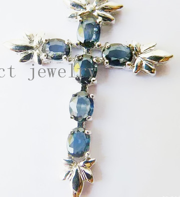 Sapphire necklace pendant Perfect Jewelry Natural sapphire 925 sterling silver Fine gem Cross style #15022504