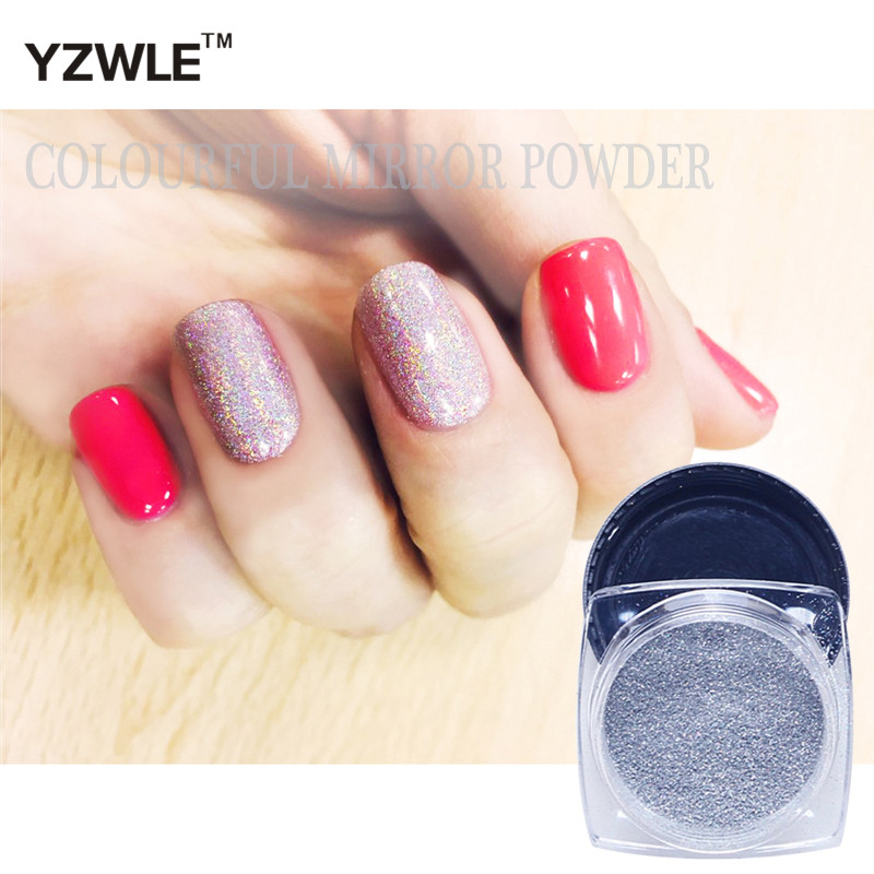 1g/Bottle Nail Glitter Powder+1pc Brush# Nail Art holographic powder Dust Shinny colorful mirror powder Nail Art Decorations(China (Mainland))