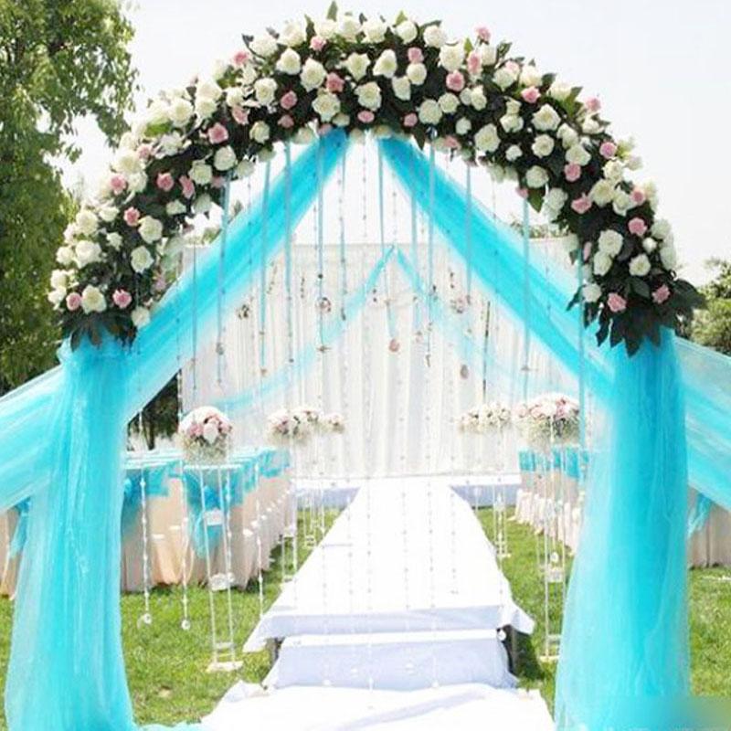 Hot Sale 0.72*50M Sheer Mirror Organza Roll Wedding Chair Sash Bow Table Runner Swag Crystal Organza Fabric 18 Colors for Choose(China (Mainland))
