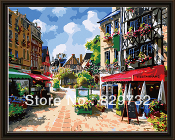 JIUJIU DIY digital oil painting by numbers Free shipping canvas arcylic paint 40X50cm Coffee shop unique gift paint by number