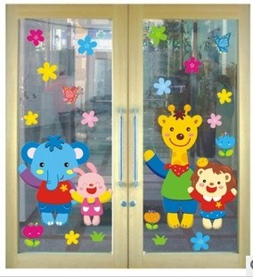 Three generations of animal wall stickers child real baby sticker