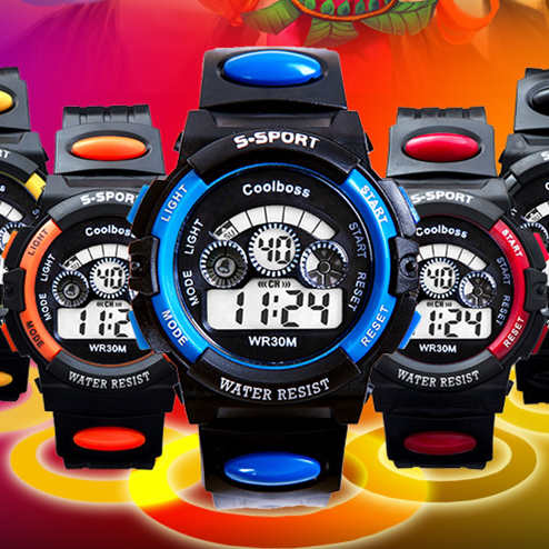 2015 Hot Sale Rain Waterproof Children Boy Digital LED Watches for Men Alarm Date Mutifunction Sports Watch as Gift(China (Mainland))