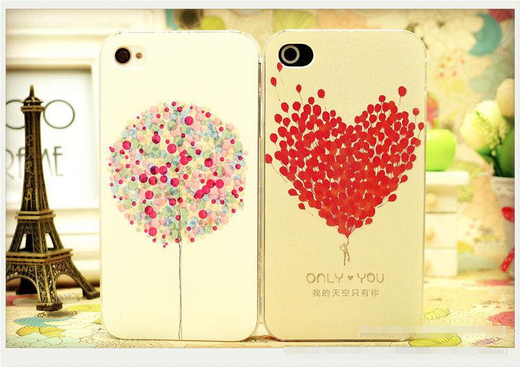 New Direct Selling For Apple Iphones No 2014 Heart-shaped Balloons Painted Pattern For Iphone 4 4s Phone Shell Protective Case(China (Mainland))