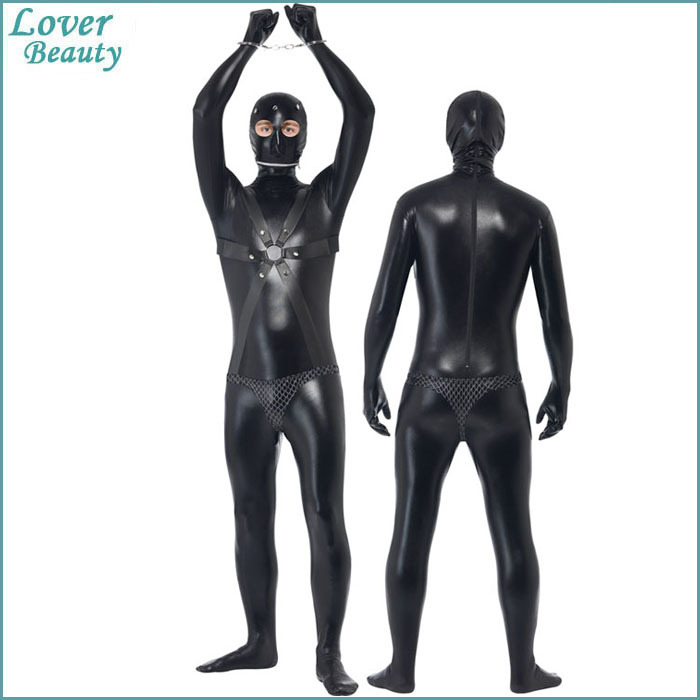 New Black Leather Catsuit Sexy Body Suits for Men PVC Erotic Apparel Costumes Latex Bodysuit Winter Long Sleeve Jumpsuit 1025(China (Mainland))
