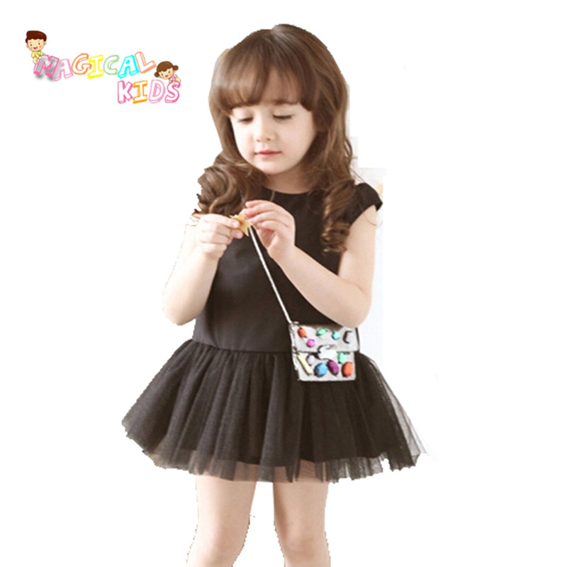 2016 New Girls Baby Kids Summer Style Solid Princess Lace Dress Sleeve Tutu Dress Lovely Girl Children's Black Clothing(China (Mainland))