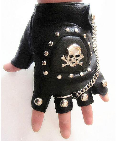 Wholesale Mens Boys Black PU Leather Punk Driving Motocycle Biker Half-finger Gloves w Skull Studs Chain Ring AG-33(China (Mainland))