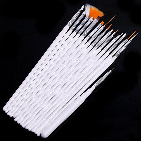 15 pieces/set Professional Nail Tool Nail Art Pen Brush White UV Gel Acrylic Flat Brush Pencil Paint Draw Brush Dotting 15 Size(China (Mainland))