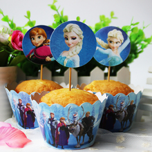 24pc/set Disney Frozen Paper Cupcake Wrappers and Toppers for Kids Birthday Party Decoration Cakecup Picks Toppers(China (Mainland))