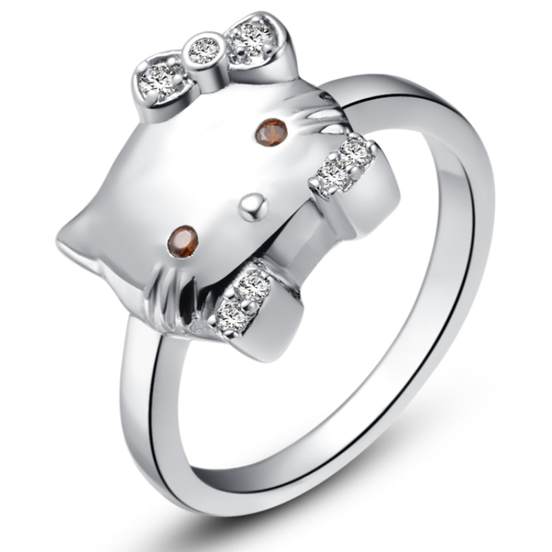High Quality Zircon 925 Sterling Silver Cute Hello Kitty Cat Wedding Party Rings For Women Size 6/7/8 Free Jewelry Bag SCJ399(China (Mainland))