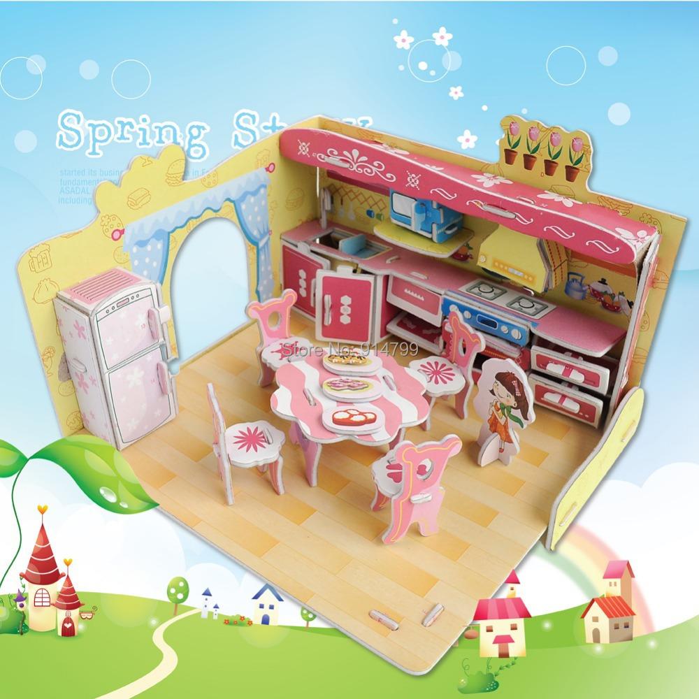 Dream Kitchen Toy: 690A Fashion Dream Villa Funny Kitchen Design Boy Girls 3D