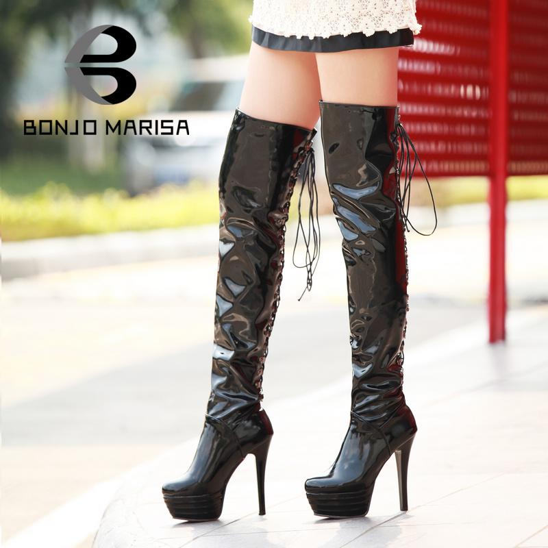 Sexy Red Bottom Long Boots Women's Lace Up Over The Knee Boots Platform Stiletto High Heels Round Toes Ladies' Shoes