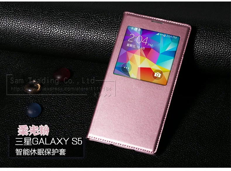 Flip Case For Samsung Galaxy S5 i9600 Original with Window Luxury Leather Cover Battery Mobile Phone Bags Cases For S5 i 9600