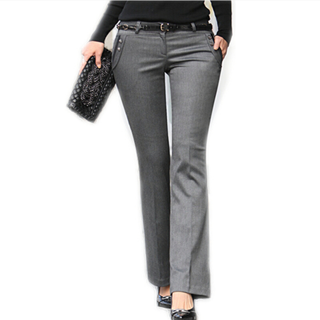 Новый 2016 весна лето женщин прямые брюки костюм середина пояс серые штаны рабочая ...