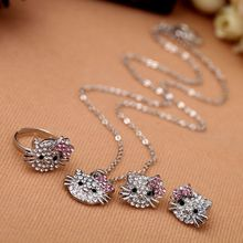 (Necklace+ Earrings+ Rings   ) hello kitty jewelry sets Free shipping  C93(China (Mainland))