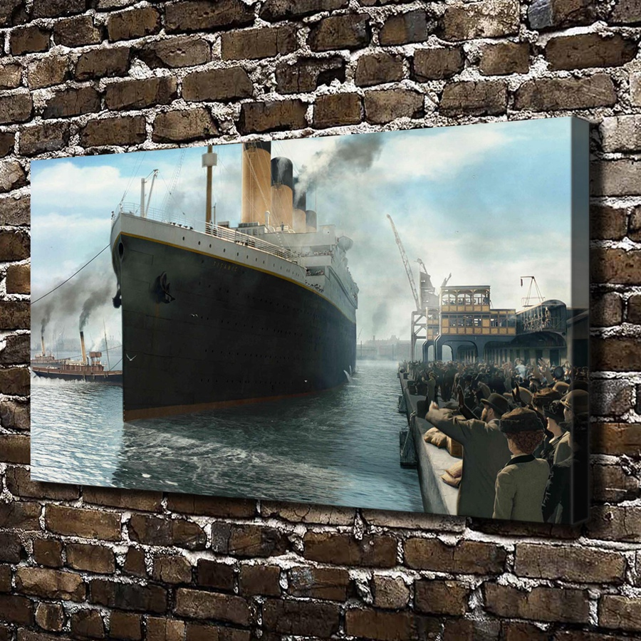 A1101 Titanic Titanic liner passenger pier people,HD Canvas Print Home decoration Living Room bedroom Wall pictures Art painting(China (Mainland))