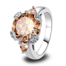 New Jewelry Lowest Price Vogue Champagne Morganite 925 Silver Fashion Ring Size 6 7 8 9
