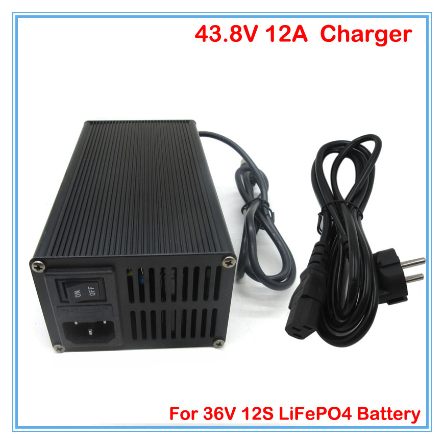 43.8V 12A LiFePO4 battery Charger 36V 12A smart charger with aluminum case Used for e-bike e-bus e-motorcycle DHL free shipping(China (Mainland))