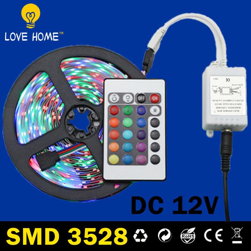 Led Strip Light Waterproof Dc 12V Led Strip Smd Rgb 5050 3528 Warm White Ruban Led Rgb 5M Kit Flexible Light Etanche Adapter 12v(China (Mainland))