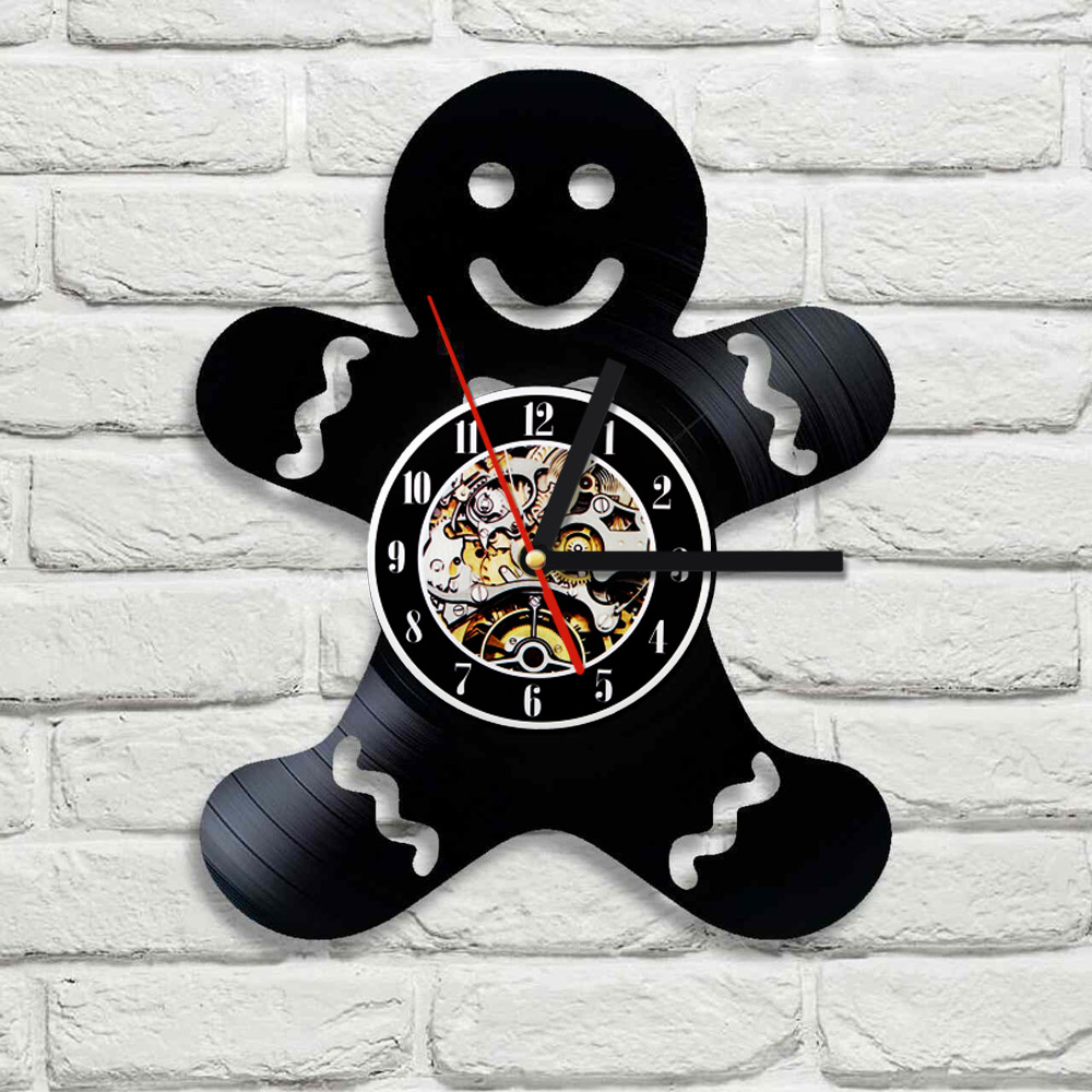 1piece the gingerbread men design 3d wall clock vinyl record creative hanging clock residential decoration decorate your homeresidential home designers. Interior Design Ideas. Home Design Ideas