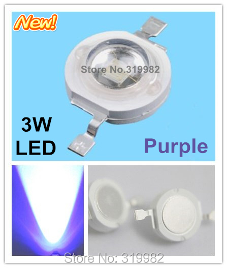 500pcs/lot 3W Purple led beads 700mA chip led Violet purple high power lamp diode Emitter beads 3W LEDs wholesale<br><br>Aliexpress