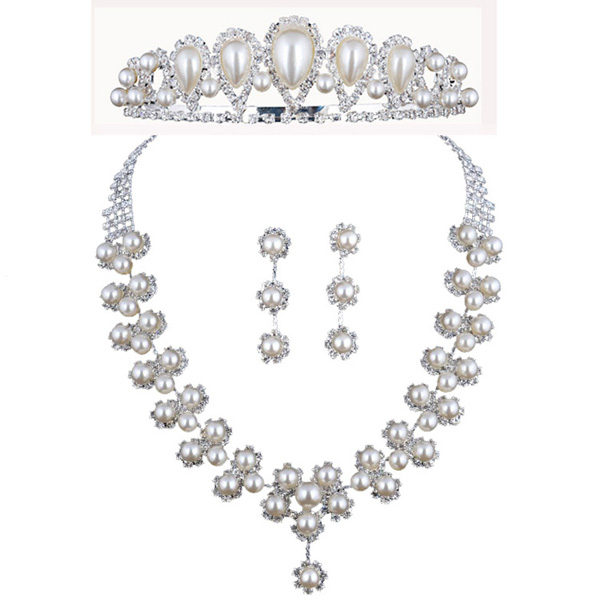 cheap fashion pearls bridesmaid jewelry set necklace