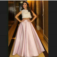 2016 Sexy Myriam Fares Pink O Neck Beaded Sleeveless Long Two Pieces Prom Dresses Evening Dress Special Occasion Gowns EV83