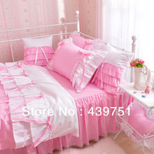 Lace Skirt Pink Purple Princess Comforter Sets/ 100% cotton/ Girls Days/Girls dreams/ Excellent Design/Exported to Korea(China (Mainland))