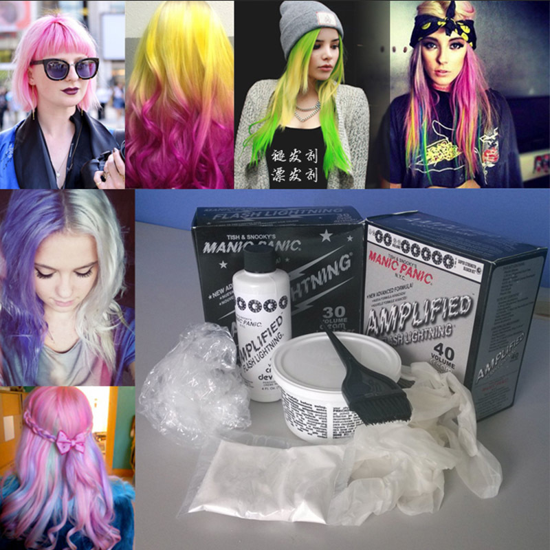 Gradient color hair bleached Manic Panic hair color and bleaching powder bleaching cream change decolorizing bleaching cream(China (Mainland))