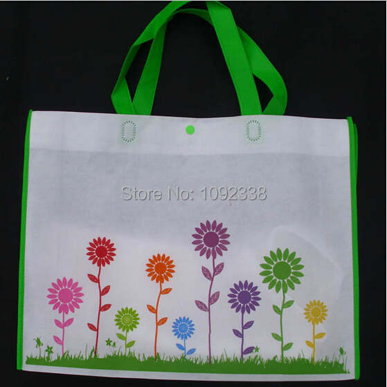 2014 Wholesale reusable bags flower print non woven shopping bags promotional bag can add custom logo 500pcs/lot By Fedex or TNT(China (Mainland))